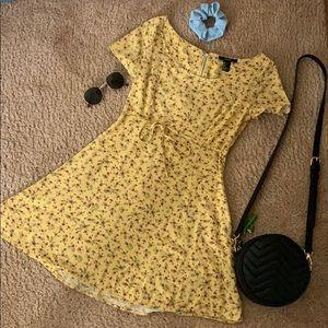 Mini Yellow Floral Summer Dress